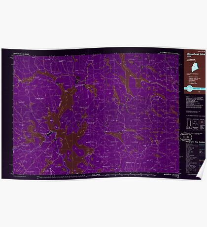 Maine USGS Historical Map Moosehead Lake 808102 1985 100000 Inversion Poster
