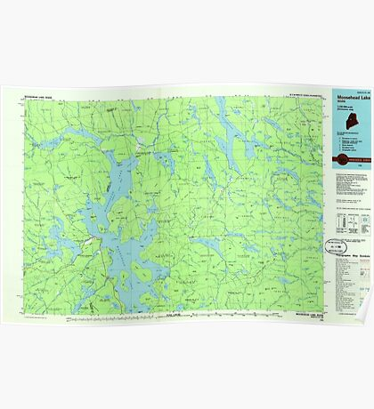 Maine USGS Historical Map Moosehead Lake 808102 1985 100000 Poster