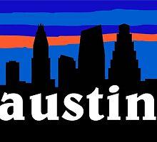 Austin Texas, Skyline silhouette by mustbtheweather