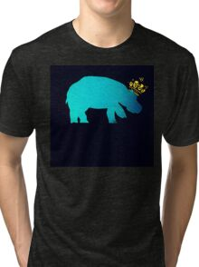 Crowned Hippo -on black Tri-blend T-Shirt