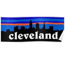 Cleveland, skyline silhouette. Poster