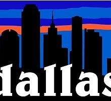 Dallas, skyline silhouette by mustbtheweather
