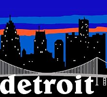 Detroit, skyline silhouette by mustbtheweather