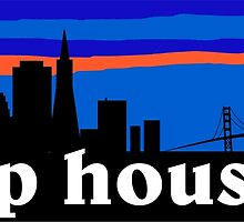 Deep house. San Francisco skyline silhouette by mustbtheweather