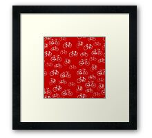 Retro Collection of Bicycles on red Framed Print