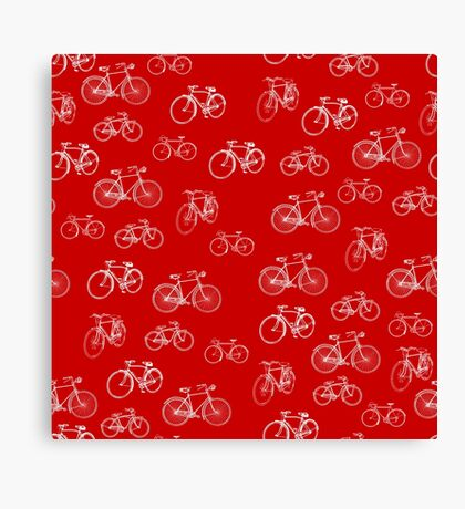 Retro Collection of Bicycles on red Canvas Print