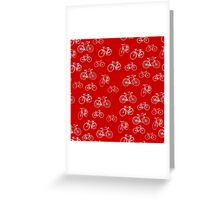Retro Collection of Bicycles on red Greeting Card