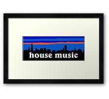 House music, Chicago skyline silhouette Framed Print