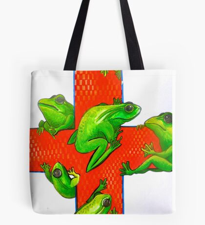 save the frogs red cross Tote Bag