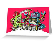 Monster vs Robot Greeting Card