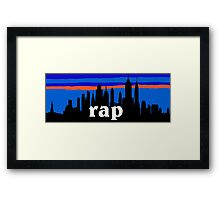 RAP MUSIC, NYC skyline silhouette Framed Print