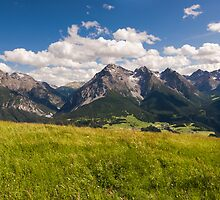 Wide angle view of mountain range above Scuol by peterwey