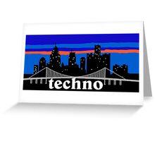 Techno, Detroit skyline silhouette Greeting Card