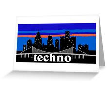 Techno, Detroit skyline silhouette Greeting Card
