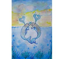 cute in love creature of the sea Photographic Print