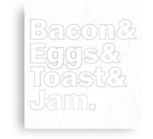 Bacon Eggs Toast Jam Canvas Print