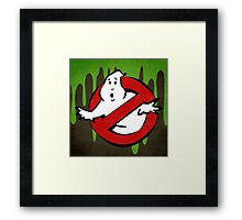 """I ain't afraid of no ghost"" Ghostbusters Stay Puft Mashmallow Man Green Slime Slimer Framed Print"