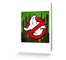 """I ain't afraid of no ghost"" Ghostbusters Stay Puft Mashmallow Man Green Slime Slimer Greeting Card"