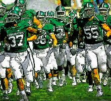 Go Green Sparty Charge The Field by John Farr