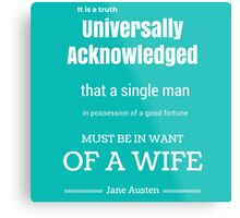 Jane Austen Quote Metal Print