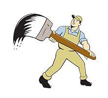 House Painter Giant Paintbrush Cartoon by patrimonio
