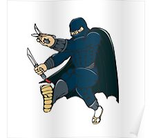 Ninja Masked Warrior Kicking Cartoon Poster