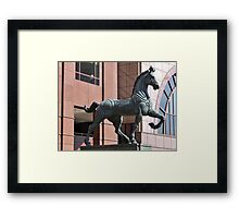 PLAZA HORSE SCUPTURE Framed Print