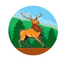 Red Stag Deer Side Marching Circle Cartoon by patrimonio