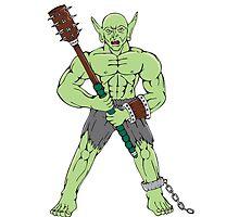 Orc Warrior Wielding Club Cartoon by patrimonio