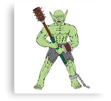 Orc Warrior Wielding Club Cartoon Canvas Print