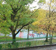 Empty playground in autumn by lukshot