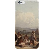 Funeral scaffold of a Sioux chief (Karl Bodmer) iPhone Case/Skin
