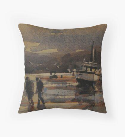 Boats on the Sandbanks Throw Pillow