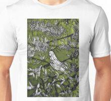Australian Bird Woodcut 1 (Olive Green) Unisex T-Shirt