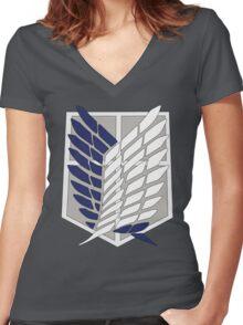 SNK SURVEY CORPS EMBLEM Women's Fitted V-Neck T-Shirt