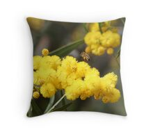 Bee with pollen Throw Pillow