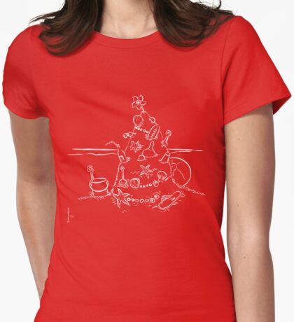 Australian Christmas Lineart Tee Womens Fitted T-Shirt