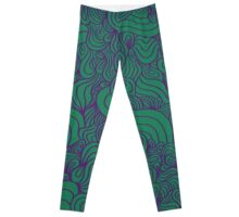 ACID PEACOCK Joker: Emerald Green/Purple Line Design Leggings Leggings
