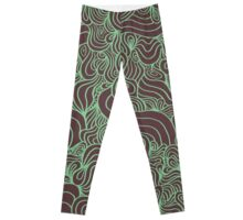 ACID PEACOCK Mint Ice Cream: Brown/Mint Green Line Design Leggings Leggings
