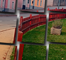 Fancy fence and little village houses | architectural photography Sticker