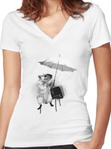 An Ode to Banksy... Women's Fitted V-Neck T-Shirt