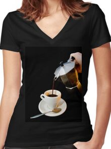 Coffee  Tshirt Women's Fitted V-Neck T-Shirt