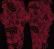 ACID PEACOCK Baby Bat: Black/Red Line Design Leggings by JMTolman