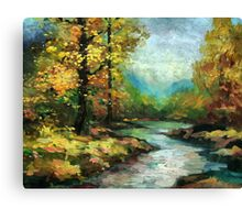 River in the golden forest Canvas Print