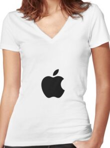 Apple Simplistic Women's Fitted V-Neck T-Shirt