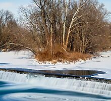 Icy Swirling Waterfall by Kenneth Keifer