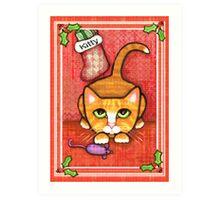 Orange Tabby Cat's Christmas Art Print