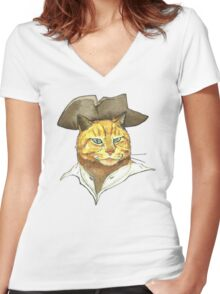 Pirate Cat Face Women's Fitted V-Neck T-Shirt