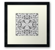 """Spirit of India: Fleur and Cross"" in white, grey and black Framed Print"