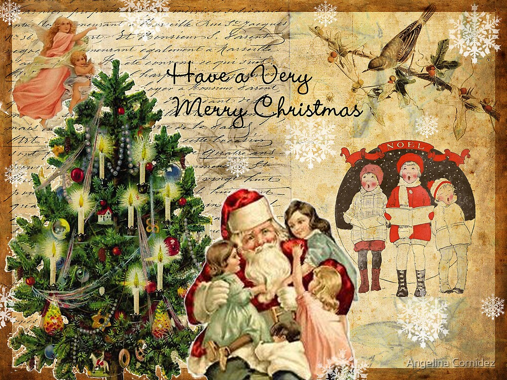Quot Vintage Christmas Collage Quot By Angelina Cornidez Redbubble